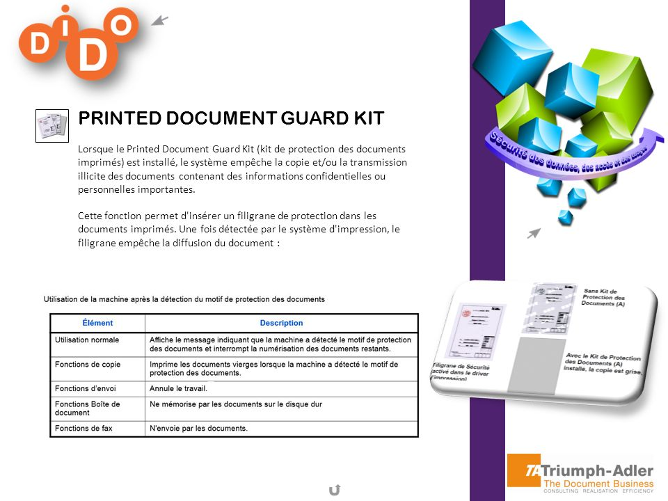PRINTED DOCUMENT GUARD KIT Lorsque le Printed Document Guard Kit (kit de protection des documents imprimés) est installé, le système empêche la copie