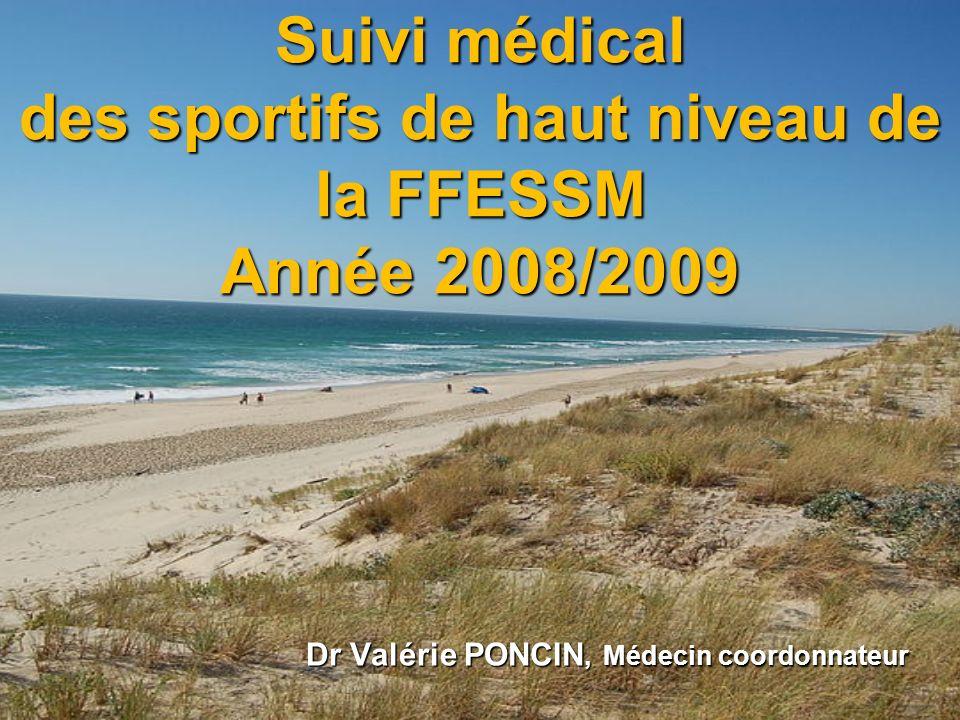 Suivi médical des sportifs de haut niveau de la FFESSM Année 2008/2009 Dr Valérie PONCIN, Médecin coordonnateur Dr Valérie PONCIN, Médecin coordonnate