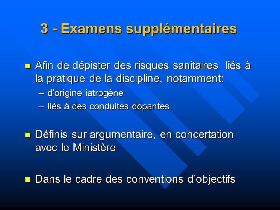 3 - Examens supplémentaires Afin de dépister des risques sanitaires liés à la pratique de la discipline, notamment: Afin de dépister des risques sanit