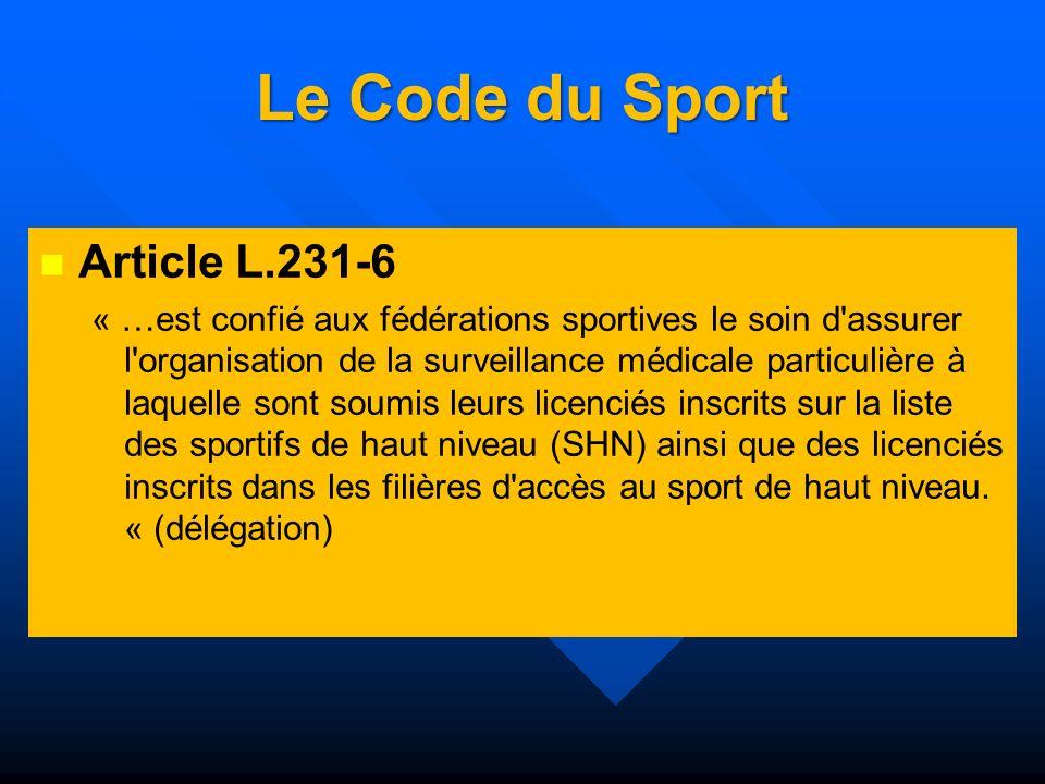 Le Code du Sport Article L.231-6 « …est confié aux fédérations sportives le soin d'assurer l'organisation de la surveillance médicale particulière à l