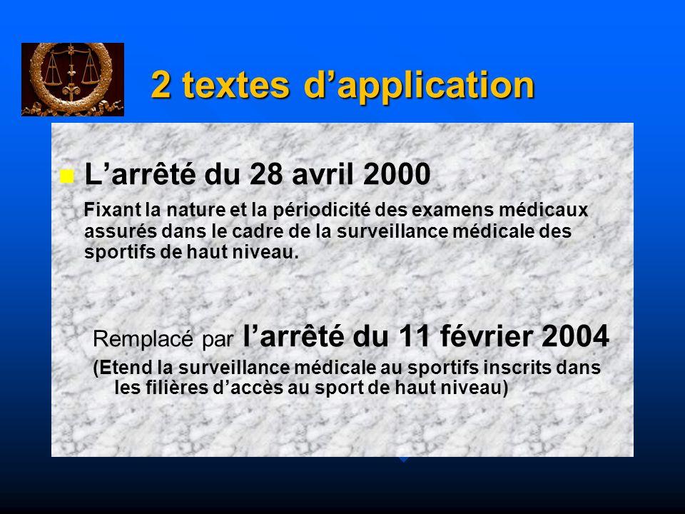 2 textes dapplication Le Décret du 6 février 2004 Relatif aux examens médicaux obligatoires pour les licenciés inscrits sur la liste des sportifs de haut niveau ou dans les filières daccès au sport de haut niveau ou pour les candidats à cette inscription.