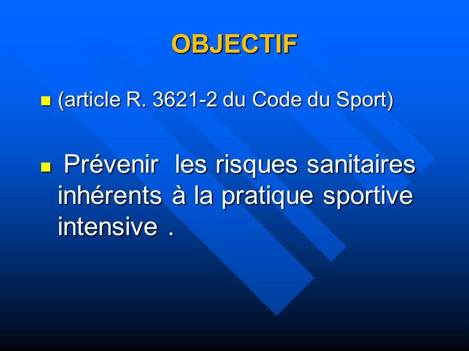 OBJECTIF (article R. 3621-2 du Code du Sport) (article R. 3621-2 du Code du Sport) Prévenir les risques sanitaires inhérents à la pratique sportive in