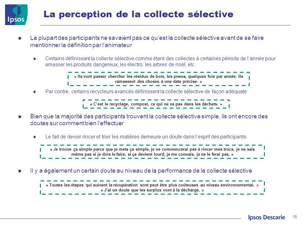 La perception de la collecte sélective 15 La plupart des participants ne savaient pas ce quest la collecte sélective avant de se faire mentionner la d