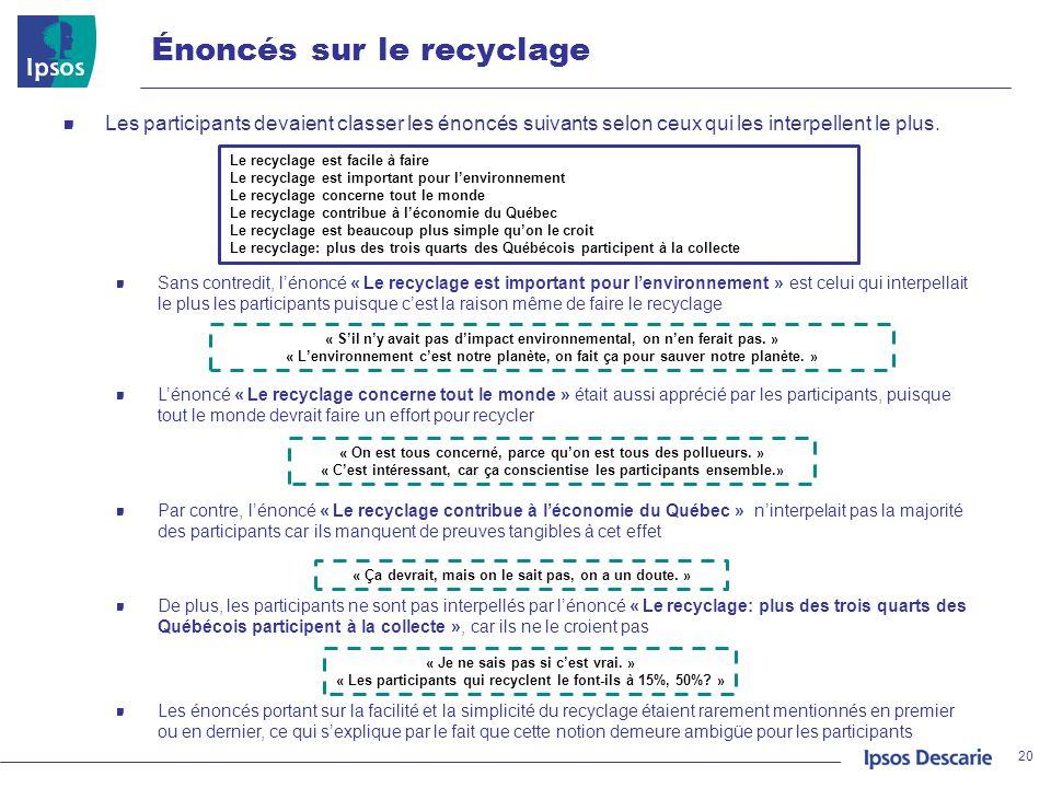 Énoncés sur le recyclage 20 Les participants devaient classer les énoncés suivants selon ceux qui les interpellent le plus. Sans contredit, lénoncé «