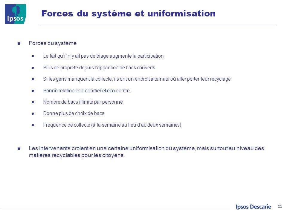 Forces du système et uniformisation 22 Forces du système Le fait quil ny ait pas de triage augmente la participation Plus de propreté depuis lappariti