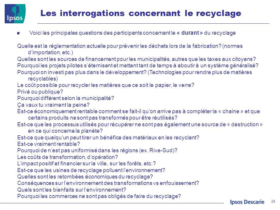 Les interrogations concernant le recyclage 26 Voici les principales questions des participants concernant le « durant » du recyclage Quelle est la rég