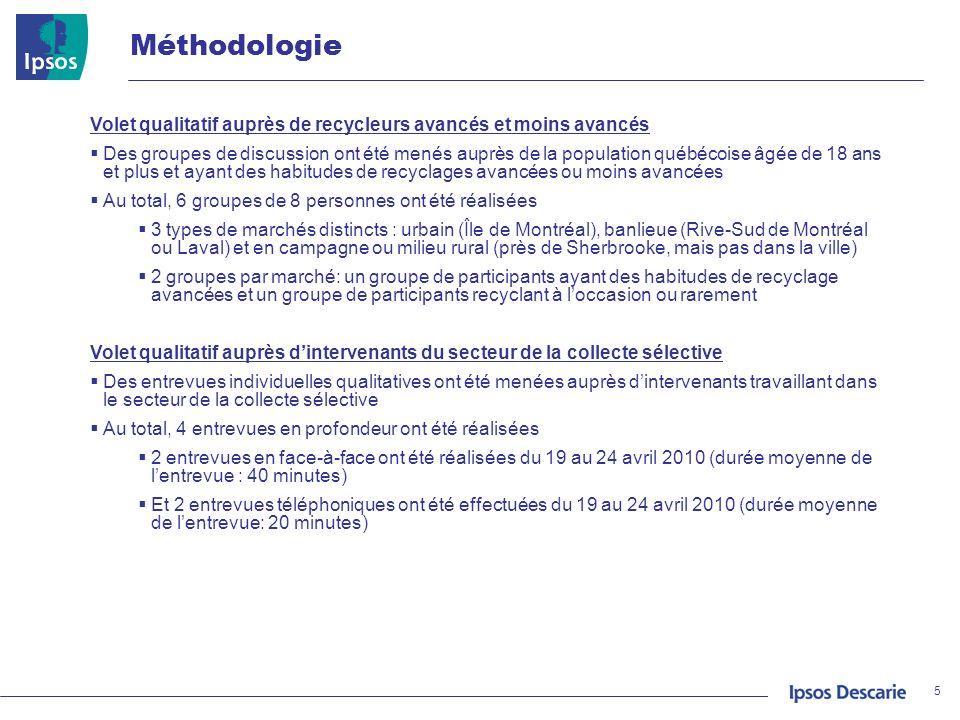 Méthodologie Volet qualitatif auprès de recycleurs avancés et moins avancés Des groupes de discussion ont été menés auprès de la population québécoise