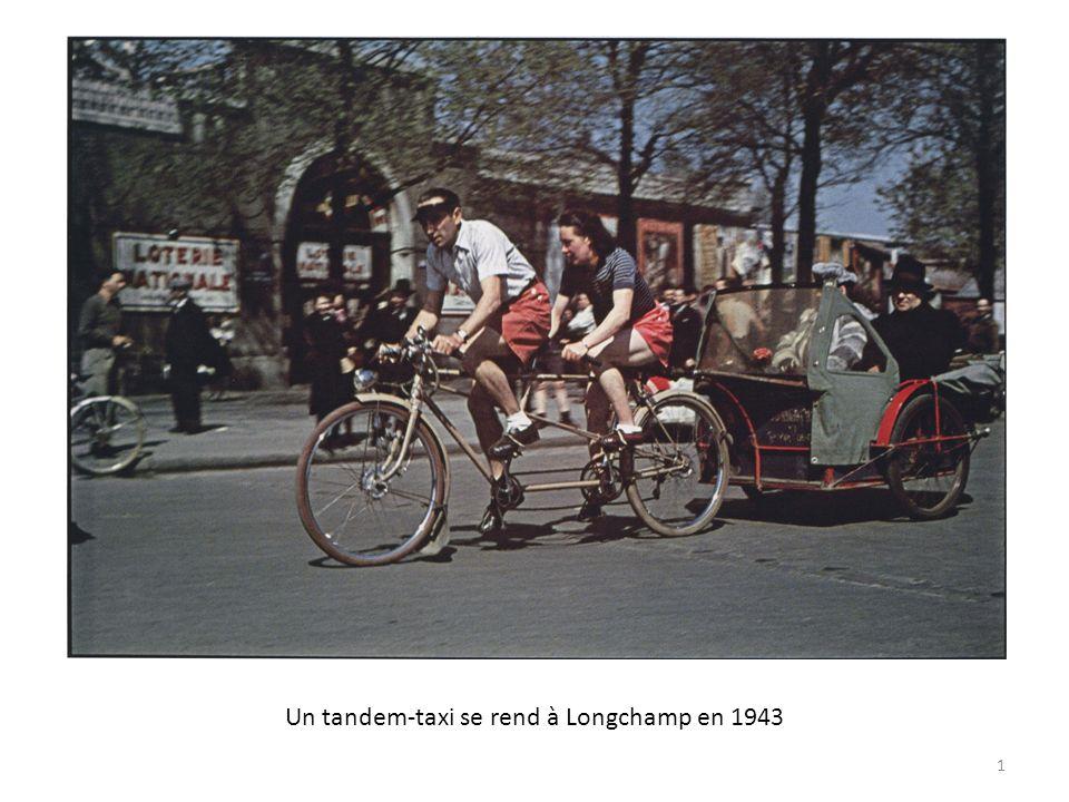 Un tandem-taxi se rend à Longchamp en 1943 1
