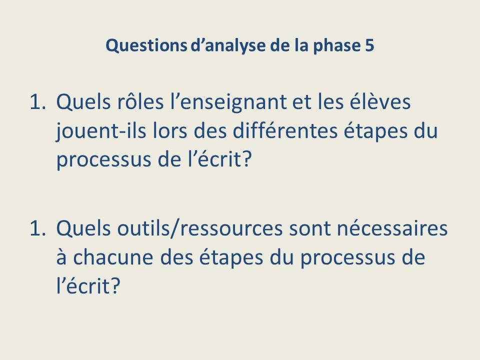 Questions danalyse de la phase 5 1.Quels rôles lenseignant et les élèves jouent-ils lors des différentes étapes du processus de lécrit.
