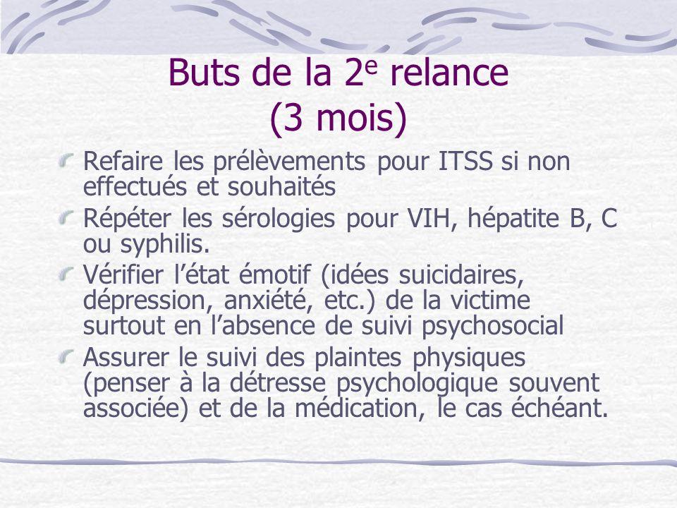 Buts de la 2 e relance (3 mois) Refaire les prélèvements pour ITSS si non effectués et souhaités Répéter les sérologies pour VIH, hépatite B, C ou syp