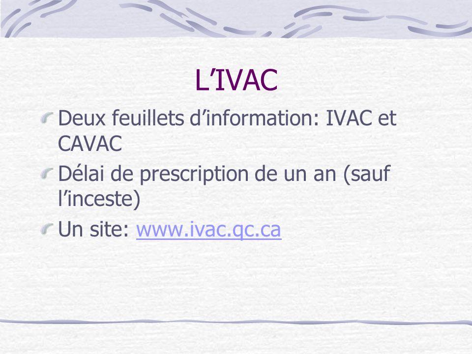 LIVAC Deux feuillets dinformation: IVAC et CAVAC Délai de prescription de un an (sauf linceste) Un site: www.ivac.qc.cawww.ivac.qc.ca