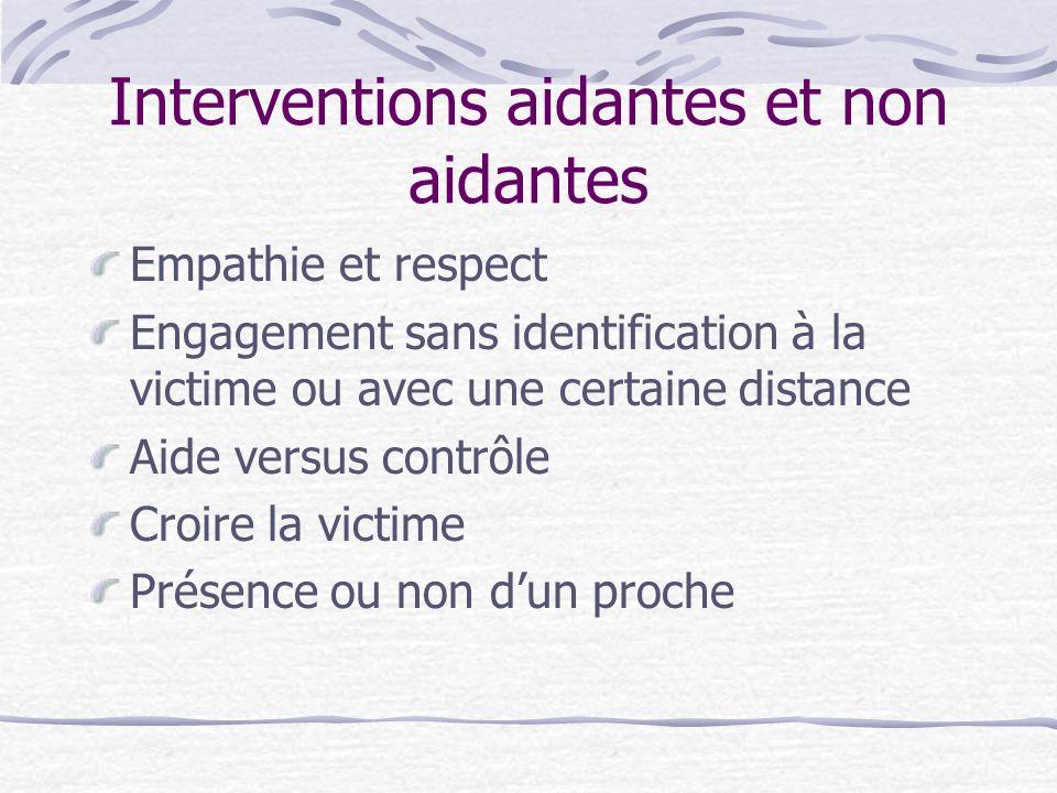 Interventions aidantes et non aidantes Empathie et respect Engagement sans identification à la victime ou avec une certaine distance Aide versus contr