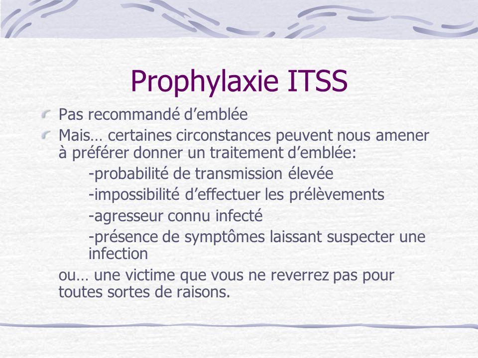 Prophylaxie ITSS Pas recommandé demblée Mais… certaines circonstances peuvent nous amener à préférer donner un traitement demblée: -probabilité de tra