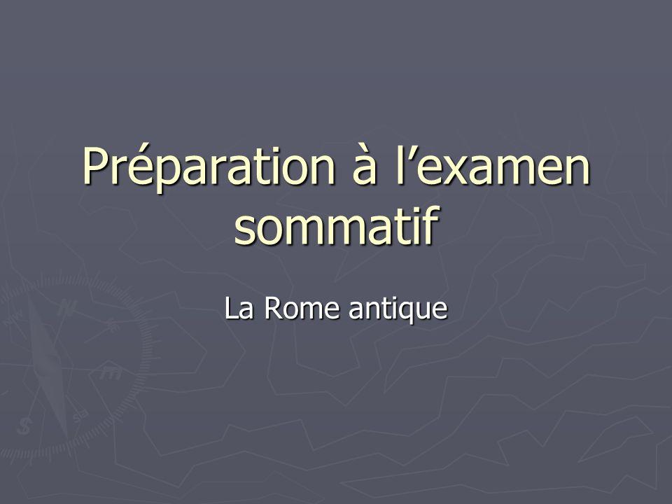 Préparation à lexamen sommatif La Rome antique