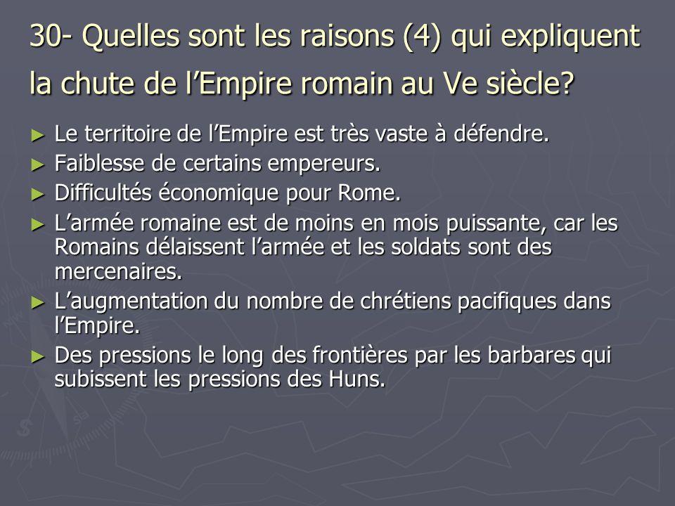 30- Quelles sont les raisons (4) qui expliquent la chute de lEmpire romain au Ve siècle? Le territoire de lEmpire est très vaste à défendre. Le territ