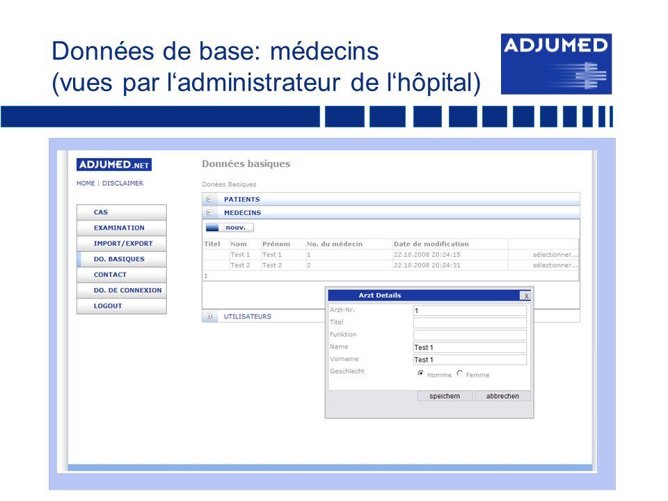 Données de base: médecins (vues par ladministrateur de lhôpital)