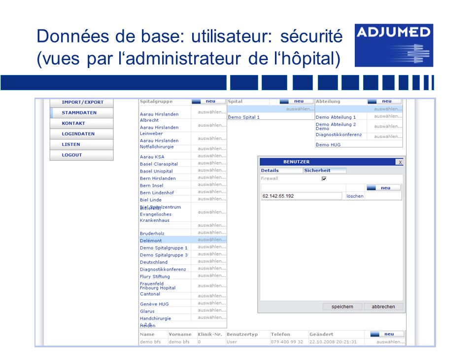Données de base: utilisateur: sécurité (vues par ladministrateur de lhôpital)