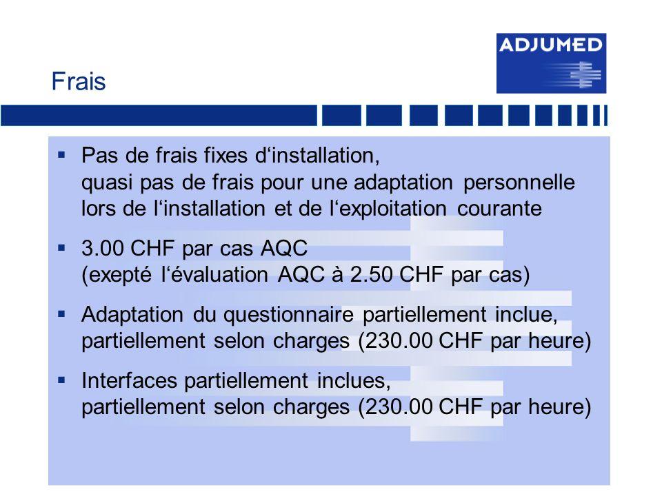 Frais Pas de frais fixes dinstallation, quasi pas de frais pour une adaptation personnelle lors de linstallation et de lexploitation courante 3.00 CHF par cas AQC (exepté lévaluation AQC à 2.50 CHF par cas) Adaptation du questionnaire partiellement inclue, partiellement selon charges (230.00 CHF par heure) Interfaces partiellement inclues, partiellement selon charges (230.00 CHF par heure)