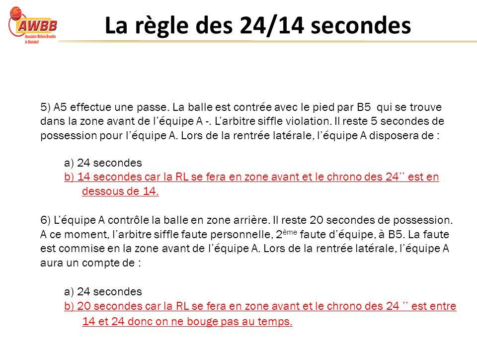 La règle des 24/14 secondes 5) A5 effectue une passe.