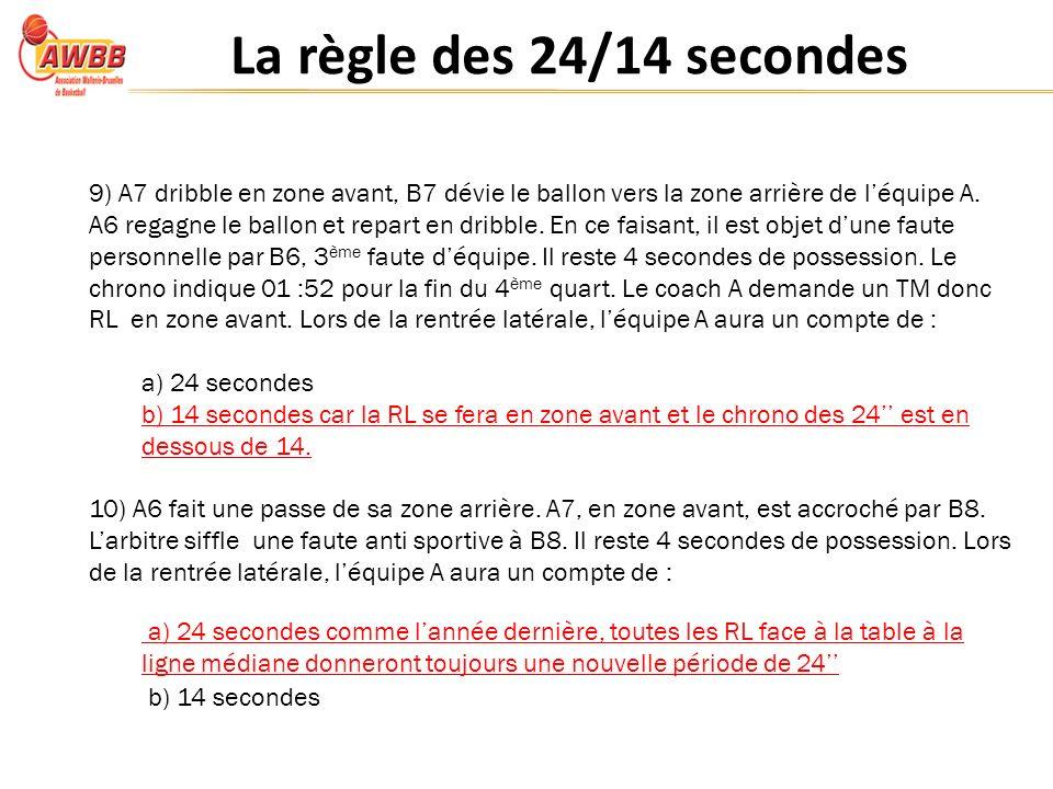 La règle des 24/14 secondes 9) A7 dribble en zone avant, B7 dévie le ballon vers la zone arrière de léquipe A.