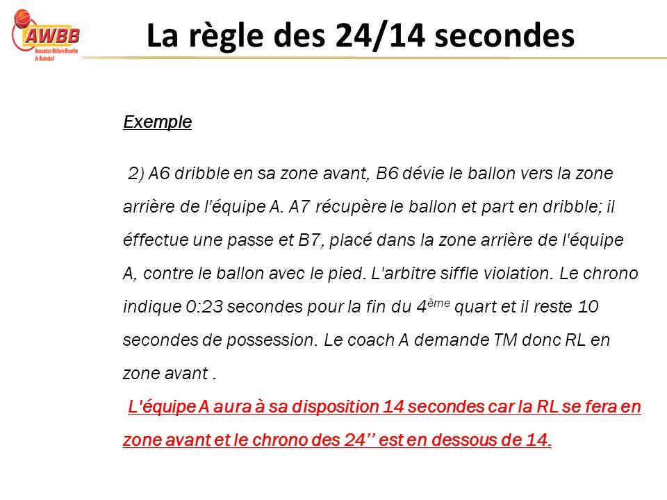 La règle des 24/14 secondes Exemple 2) A6 dribble en sa zone avant, B6 dévie le ballon vers la zone arrière de l équipe A.