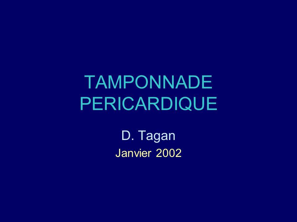 TAMPONNADE PERICARDIQUE D. Tagan Janvier 2002