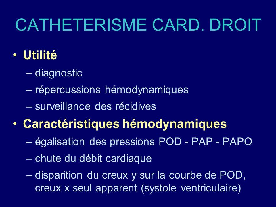 CATHETERISME CARD. DROIT Utilité –diagnostic –répercussions hémodynamiques –surveillance des récidives Caractéristiques hémodynamiques –égalisation de