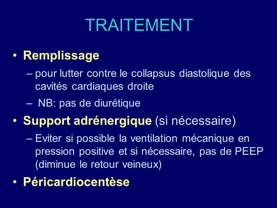TRAITEMENT Remplissage –pour lutter contre le collapsus diastolique des cavités cardiaques droite – NB: pas de diurétique Support adrénergique (si néc