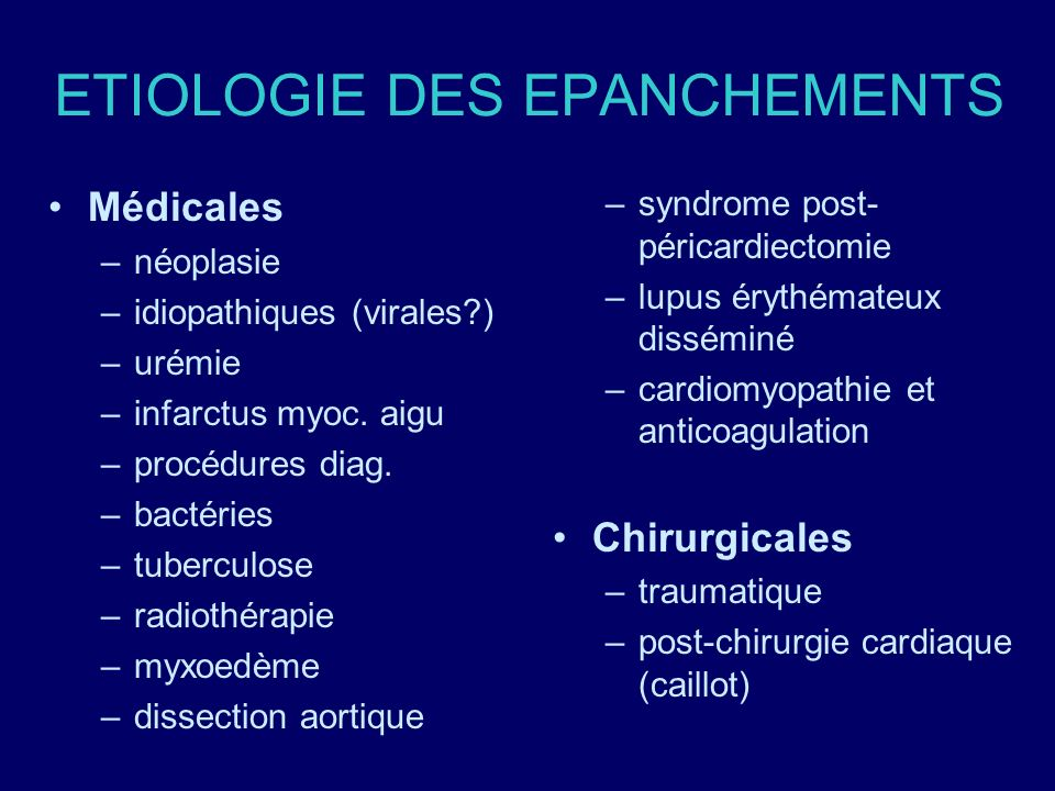 ETIOLOGIE DES EPANCHEMENTS Médicales –néoplasie –idiopathiques (virales?) –urémie –infarctus myoc. aigu –procédures diag. –bactéries –tuberculose –rad
