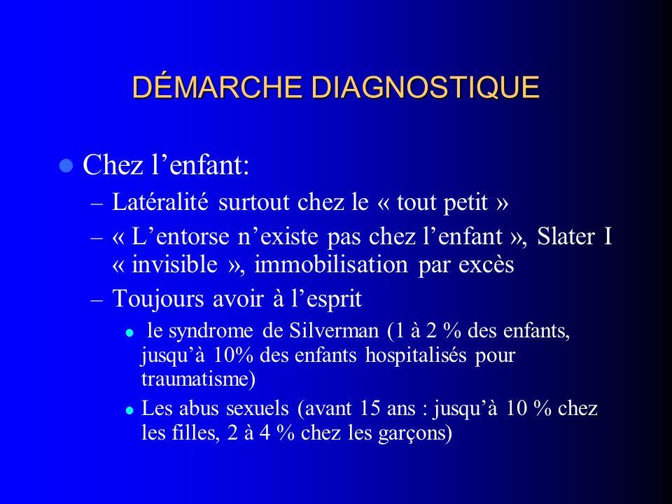 DÉMARCHE DIAGNOSTIQUE Chez lenfant: – Latéralité surtout chez le « tout petit » – « Lentorse nexiste pas chez lenfant », Slater I « invisible », immob