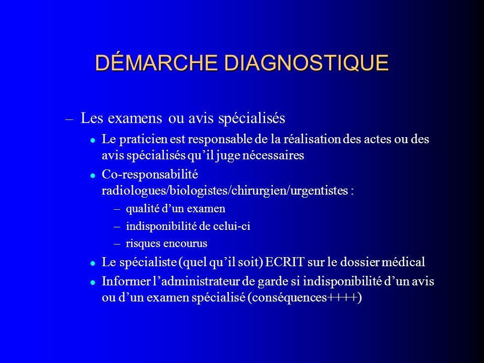 DÉMARCHE DIAGNOSTIQUE – Les examens ou avis spécialisés Le praticien est responsable de la réalisation des actes ou des avis spécialisés quil juge néc