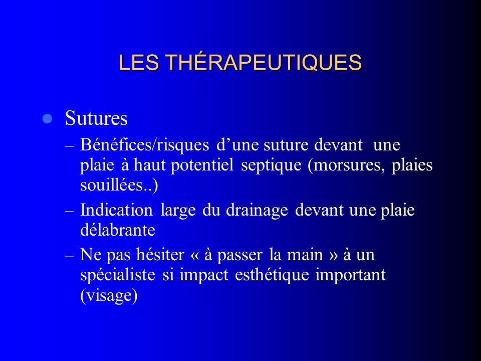 LES THÉRAPEUTIQUES Sutures – Bénéfices/risques dune suture devant une plaie à haut potentiel septique (morsures, plaies souillées..) – Indication larg