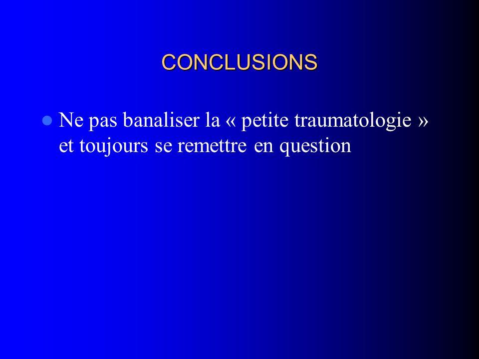 CONCLUSIONS Ne pas banaliser la « petite traumatologie » et toujours se remettre en question