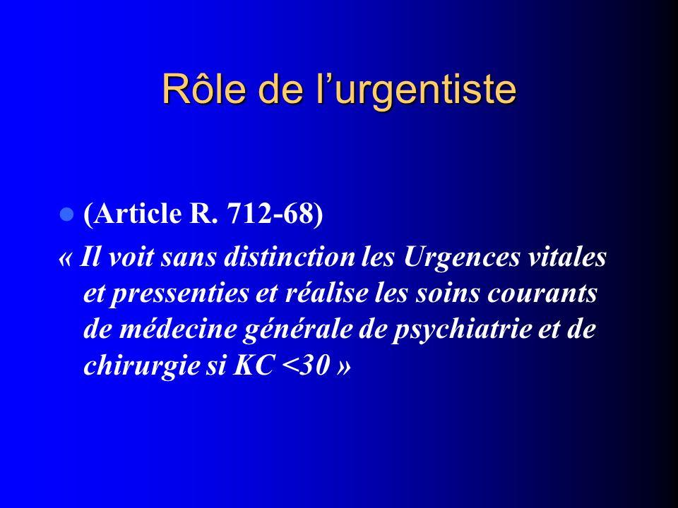 Rôle de lurgentiste (Article R. 712-68) « Il voit sans distinction les Urgences vitales et pressenties et réalise les soins courants de médecine génér