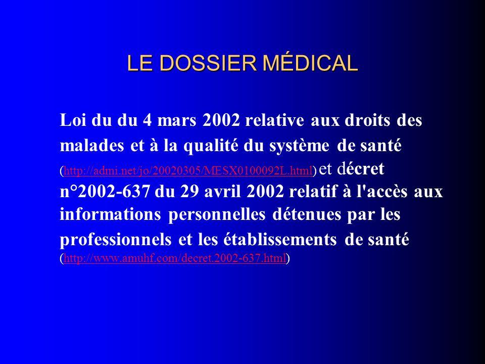 LE DOSSIER MÉDICAL Loi du du 4 mars 2002 relative aux droits des malades et à la qualité du système de santé (http://admi.net/jo/20020305/MESX0100092L