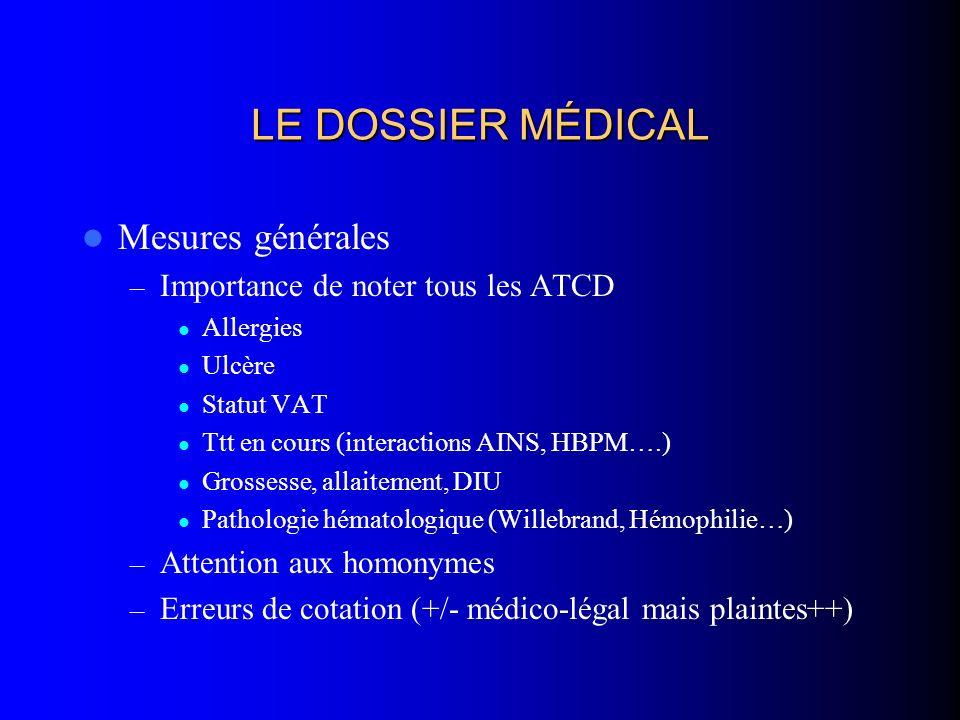 LE DOSSIER MÉDICAL Mesures générales – Importance de noter tous les ATCD Allergies Ulcère Statut VAT Ttt en cours (interactions AINS, HBPM….) Grossess