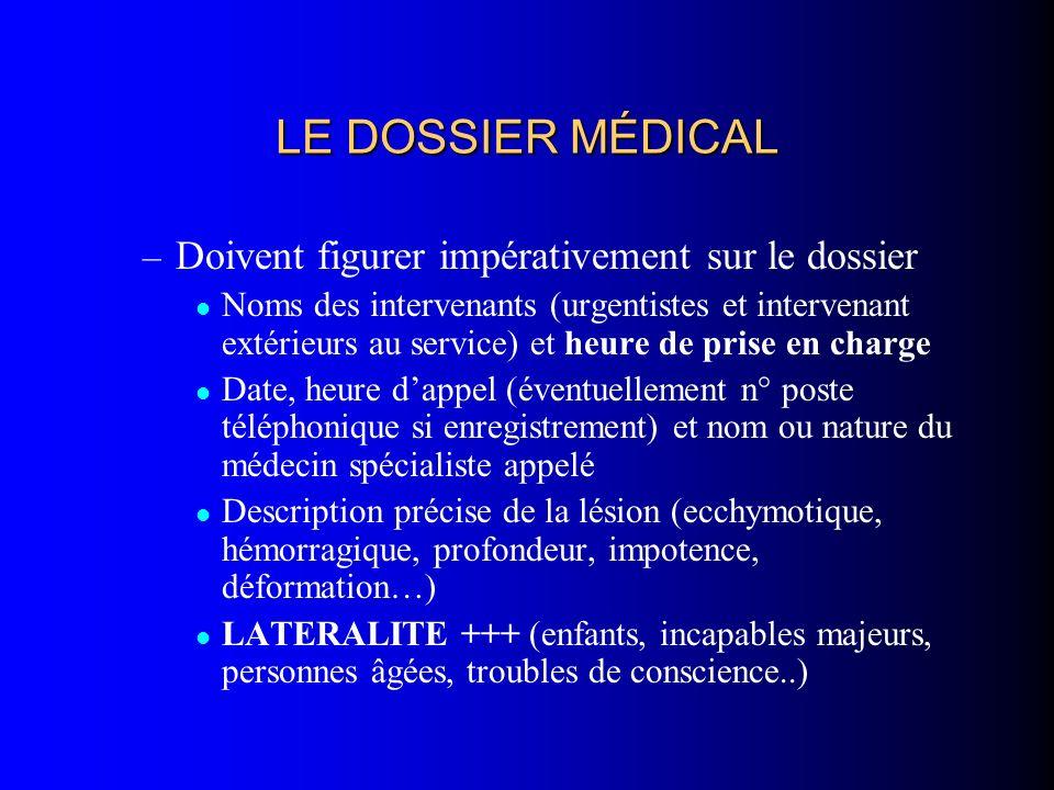 LE DOSSIER MÉDICAL – Doivent figurer impérativement sur le dossier Noms des intervenants (urgentistes et intervenant extérieurs au service) et heure d