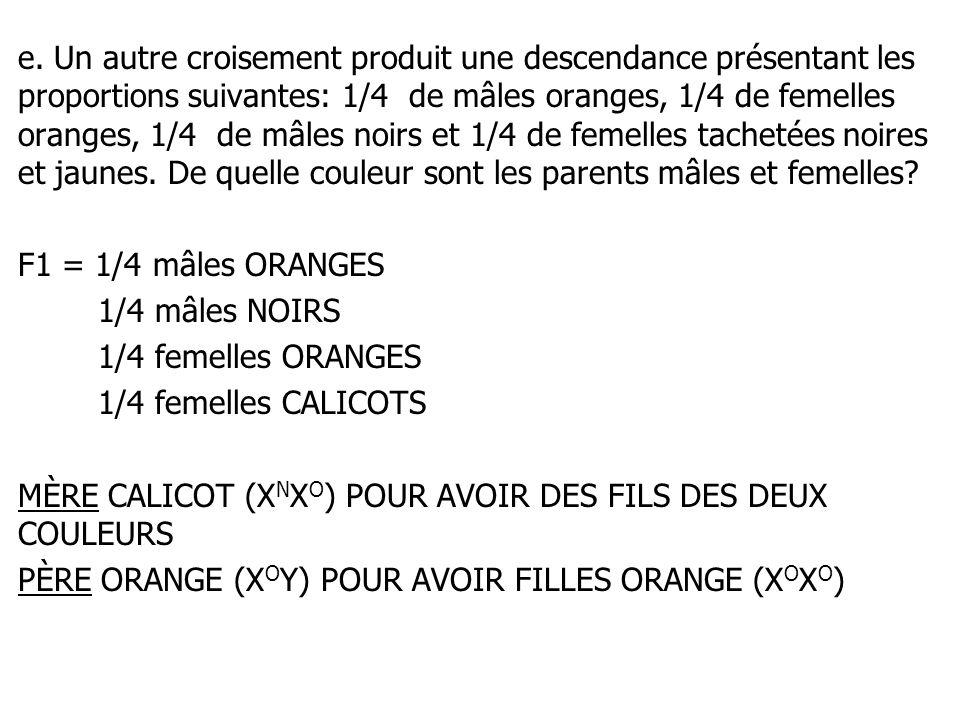 e. Un autre croisement produit une descendance présentant les proportions suivantes: 1/4 de mâles oranges, 1/4 de femelles oranges, 1/4 de mâles noirs