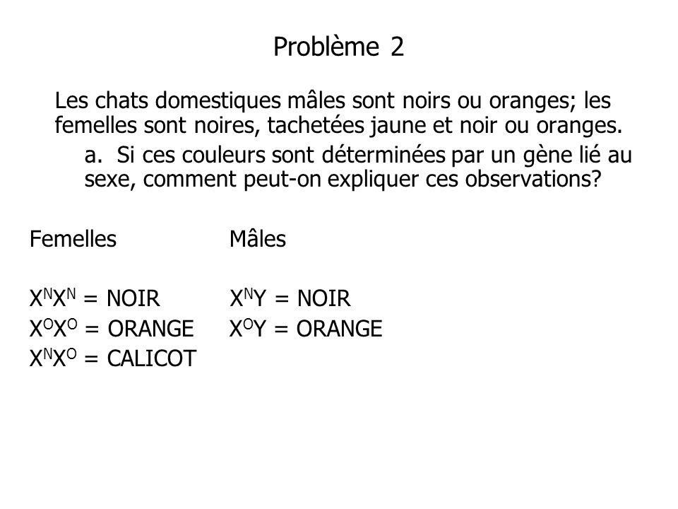 Problème 2 Les chats domestiques mâles sont noirs ou oranges; les femelles sont noires, tachetées jaune et noir ou oranges. a. Si ces couleurs sont dé