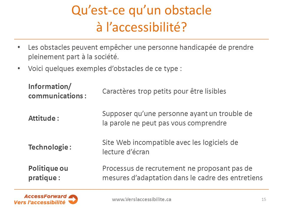 Quest-ce quun obstacle à laccessibilité.