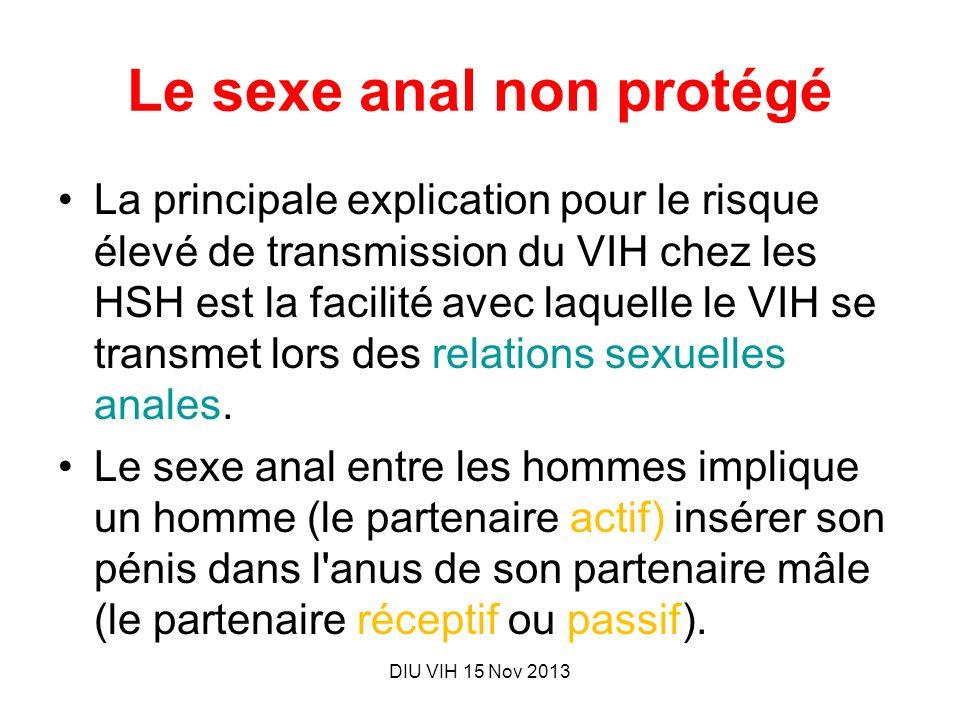 DIU VIH 15 Nov 2013 Le sexe anal non protégé La principale explication pour le risque élevé de transmission du VIH chez les HSH est la facilité avec l