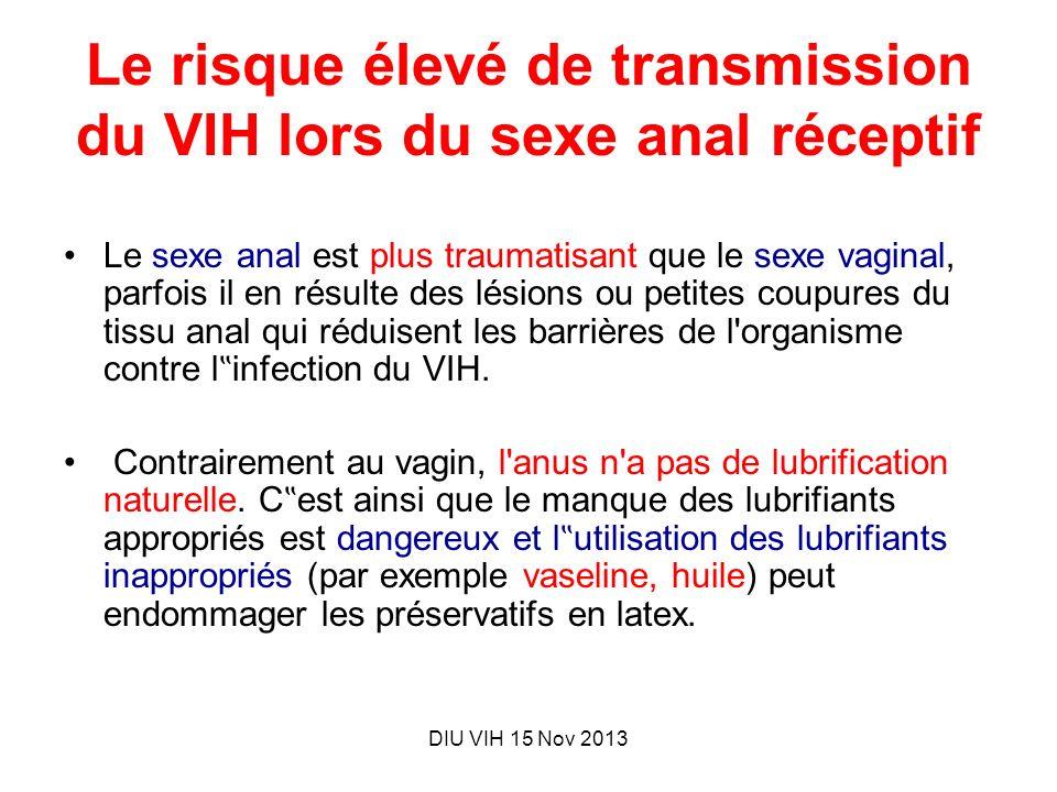 DIU VIH 15 Nov 2013 Le risque élevé de transmission du VIH lors du sexe anal réceptif Le sexe anal est plus traumatisant que le sexe vaginal, parfois