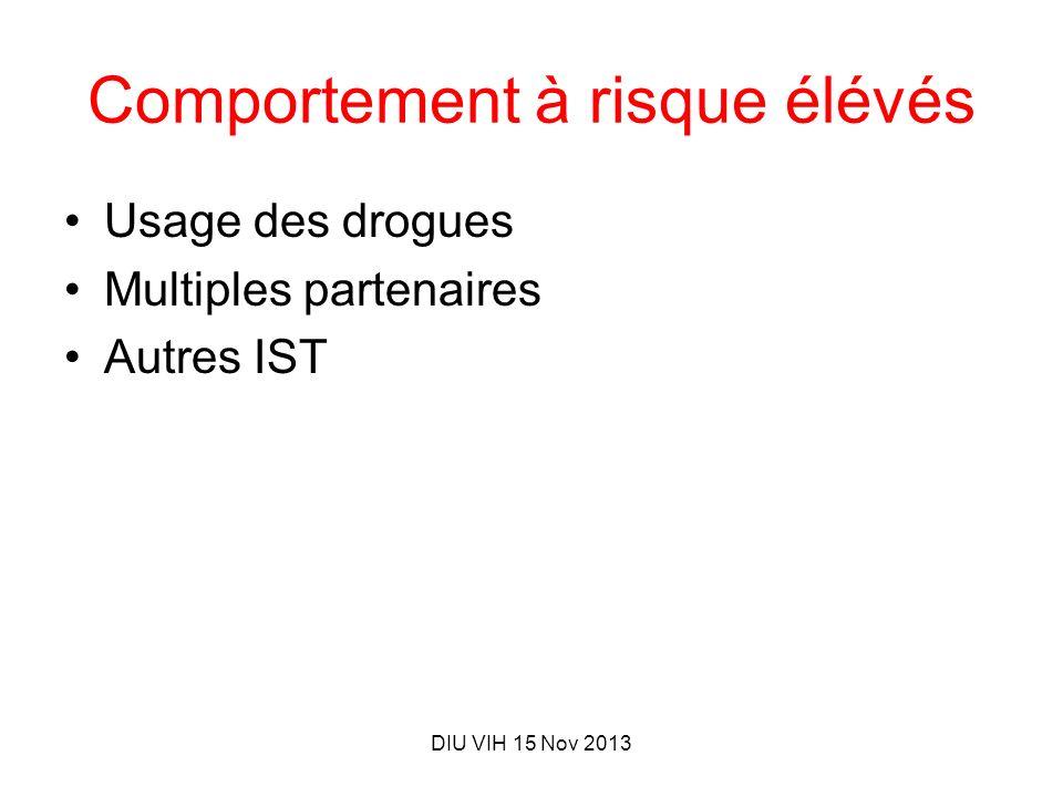 DIU VIH 15 Nov 2013 Comportement à risque élévés Usage des drogues Multiples partenaires Autres IST
