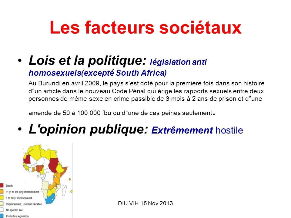 DIU VIH 15 Nov 2013 Les facteurs sociétaux Lois et la politique: législation anti homosexuels(excepté South Africa) Au Burundi en avril 2009, le pays