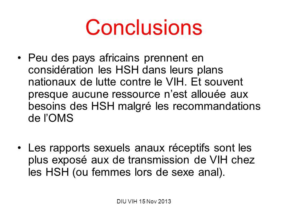 DIU VIH 15 Nov 2013 Conclusions Peu des pays africains prennent en considération les HSH dans leurs plans nationaux de lutte contre le VIH. Et souvent