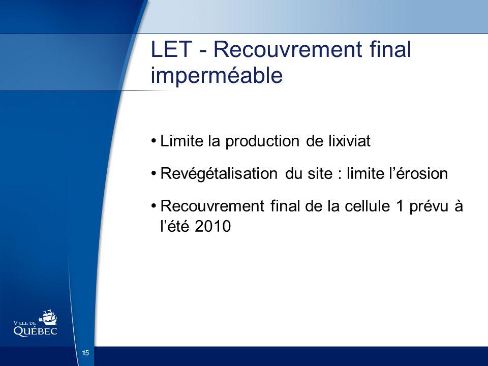 15 LET - Recouvrement final imperméable Limite la production de lixiviat Revégétalisation du site : limite lérosion Recouvrement final de la cellule 1 prévu à lété 2010