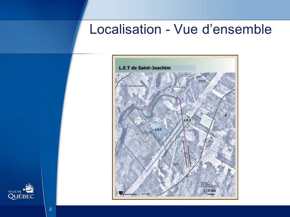 3 Quelques chiffres Octobre 2000 : acquisition Superficie totale : 12 km² dont 0,6 km² pour lenfouissement Territoire desservi : PGMR MRC de la Côte-de-Beaupré, MRC de LÎle-dOrléans, Ville de Québec, Est de la MRC de La Jacques-Cartier