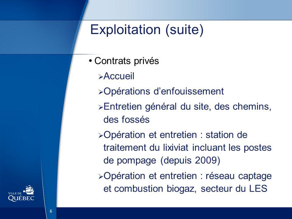 Service de lenvironnement Division de la qualité du milieu Programme de suivi environnemental du lieu denfouissement de la Ville de Québec