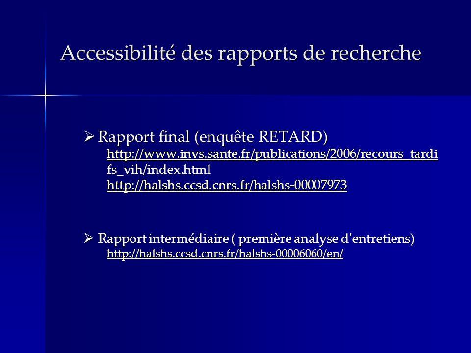 Accessibilité des rapports de recherche Rapport final (enquête RETARD) http://www.invs.sante.fr/publications/2006/recours_tardi fs_vih/index.html http://halshs.ccsd.cnrs.fr/halshs-00007973 Rapport final (enquête RETARD) http://www.invs.sante.fr/publications/2006/recours_tardi fs_vih/index.html http://halshs.ccsd.cnrs.fr/halshs-00007973 http://www.invs.sante.fr/publications/2006/recours_tardi http://halshs.ccsd.cnrs.fr/halshs-00007973 http://www.invs.sante.fr/publications/2006/recours_tardi http://halshs.ccsd.cnrs.fr/halshs-00007973 Rapport intermédiaire ( première analyse d entretiens) http://halshs.ccsd.cnrs.fr/halshs-00006060/en/ Rapport intermédiaire ( première analyse d entretiens) http://halshs.ccsd.cnrs.fr/halshs-00006060/en/ http://halshs.ccsd.cnrs.fr/halshs-00006060/en/