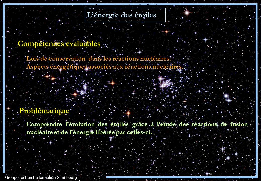 Lénergie des étoiles Problématique Comprendre lévolution des étoiles grâce à létude des réactions de fusion nucléaire et de lénergie libérée par celle